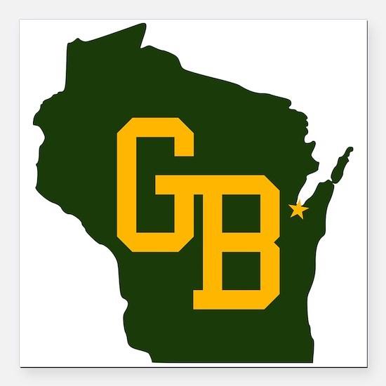 "GB - Wisconsin Square Car Magnet 3"" x 3"""