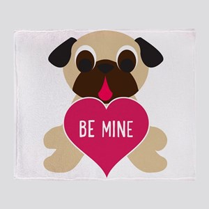 Valentine's Day Pug - Be Mine Throw Blanket