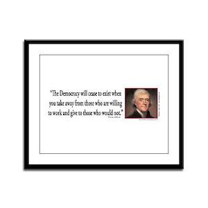 Thomas Jefferson explains Democ Framed Panel Print