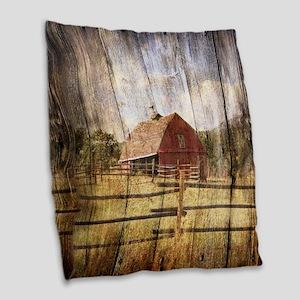 farm red barn wood texture Burlap Throw Pillow