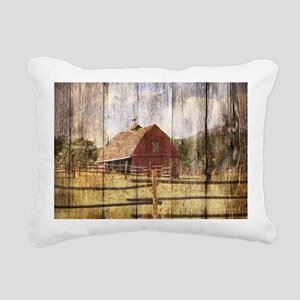 farm red barn wood textu Rectangular Canvas Pillow