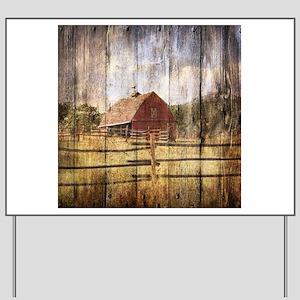 farm red barn wood texture Yard Sign
