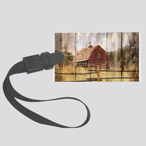 farm red barn wood texture Large Luggage Tag