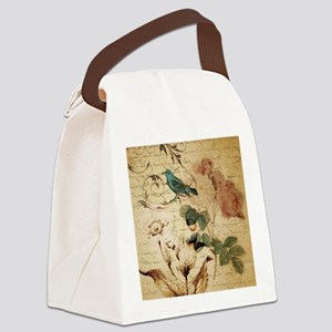 vintage rose bird paris french bo Canvas Lunch Bag