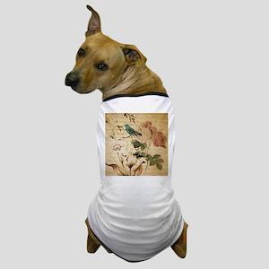 vintage rose bird paris french botanic Dog T-Shirt