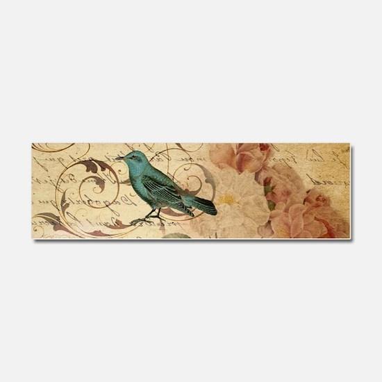 vintage rose bird paris french b Car Magnet 10 x 3