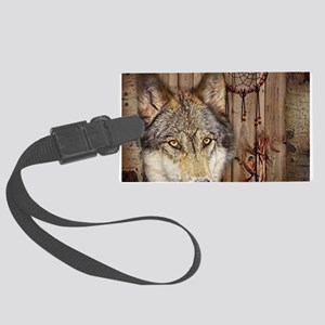 native dream catcher wolf Large Luggage Tag