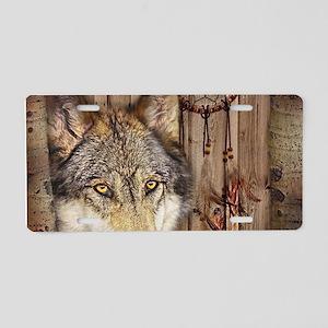 native dream catcher wolf Aluminum License Plate