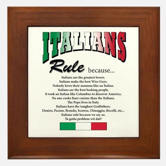 Italians Rules Framed Tile