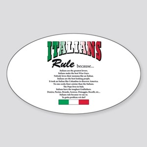 Italians Rules Oval Sticker