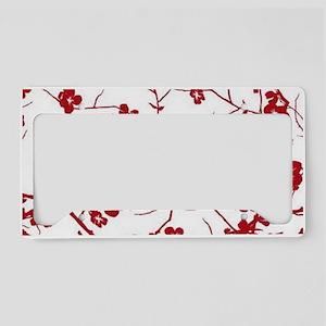 modern zen artistic red plum License Plate Holder