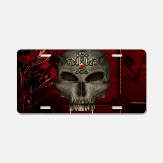 Awesome skull with celtic knot Aluminum License Pl