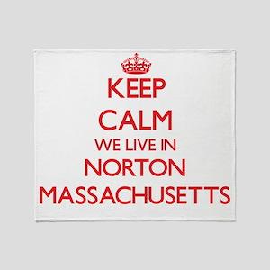 Keep calm we live in Norton Massachu Throw Blanket