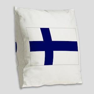 Finland flag Burlap Throw Pillow
