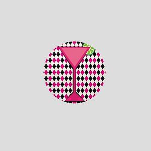 Pink Cocktail on Black White Diamond Mini Button