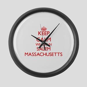 Keep calm we live in Salem Massac Large Wall Clock