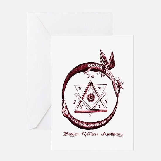 Alchemical Ouroboros Greeting Cards