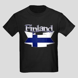 Finnish flag ribbon Kids Dark T-Shirt