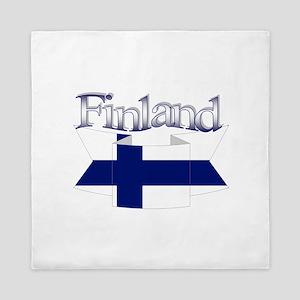 Finnish flag ribbon Queen Duvet