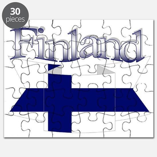 Finnish flag ribbon Puzzle