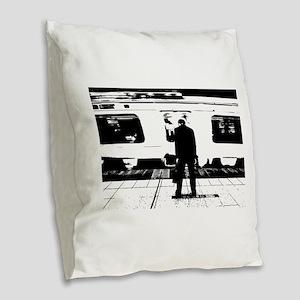 Train Burlap Throw Pillow