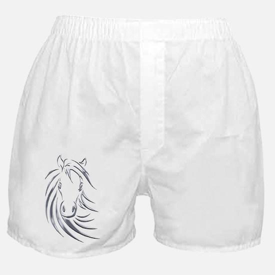 Silver Design Horse Head Boxer Shorts