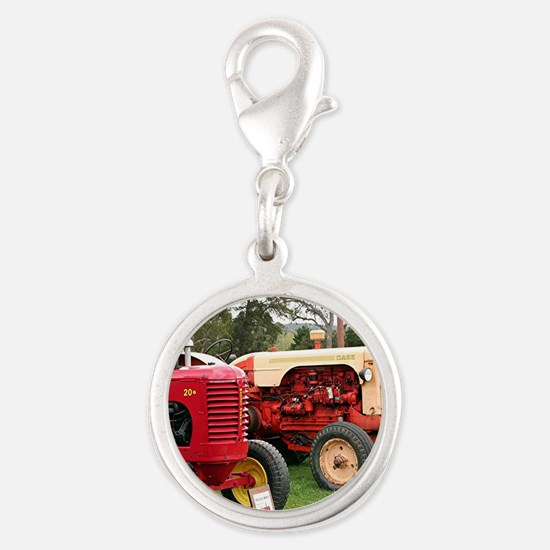 Old farm tractors machinery 2 Silver Round Charm