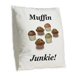 Muffin Junkie Burlap Throw Pillow