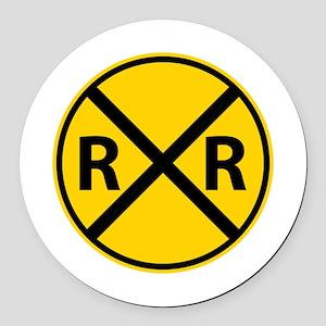 Railroad Crossing Round Car Magnet