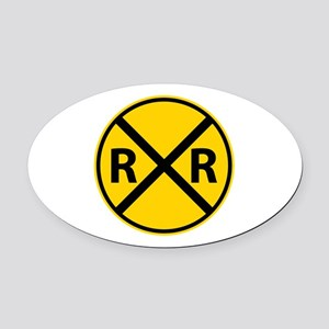 Railroad Crossing Oval Car Magnet