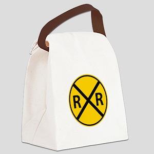 Railroad Crossing Canvas Lunch Bag