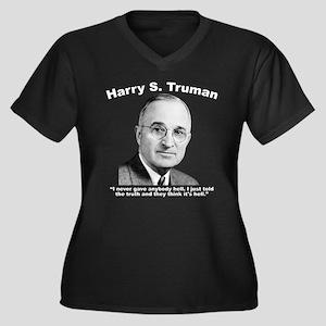 Truman: Hell Women's Plus Size V-Neck Dark T-Shirt