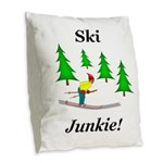 Ski Junkie Burlap Throw Pillow