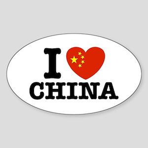 I Love China Oval Sticker