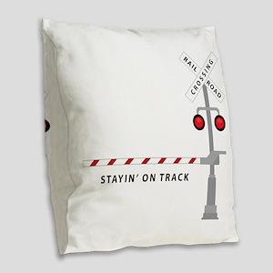 Stayin' On Track Burlap Throw Pillow
