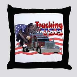 Trucking USA Throw Pillow
