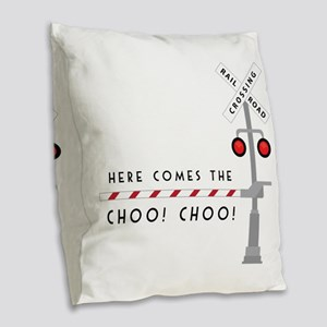 Here Comes Burlap Throw Pillow