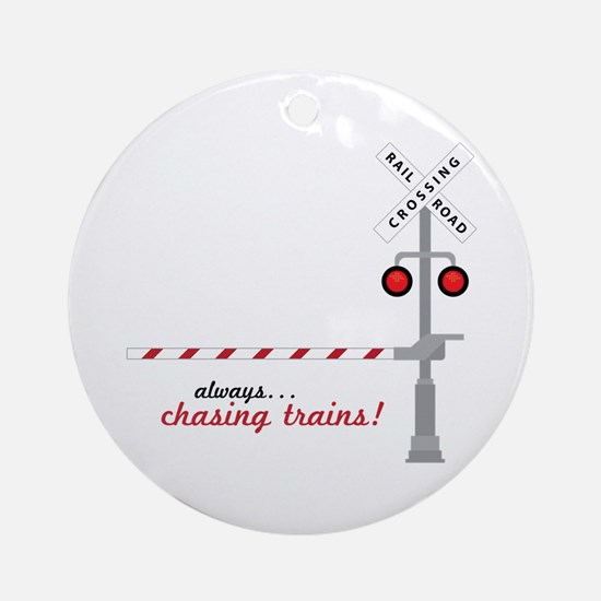 Chasing Trains! Ornament (Round)