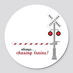 Chasing Trains! Round Car Magnet
