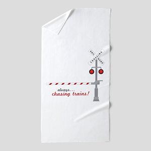 Chasing Trains! Beach Towel