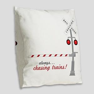 Chasing Trains! Burlap Throw Pillow