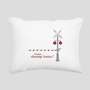 Chasing Trains! Rectangular Canvas Pillow