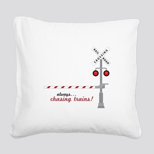 Chasing Trains! Square Canvas Pillow