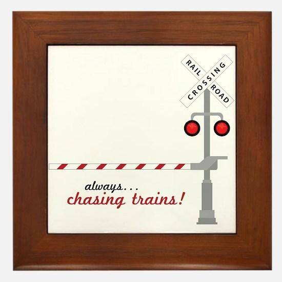 Chasing Trains! Framed Tile