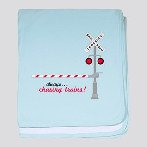 Chasing Trains! baby blanket