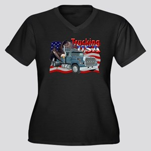 Trucking USA Women's Plus Size V-Neck Dark T-Shirt