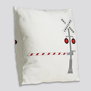 Railroad Crossing Burlap Throw Pillow