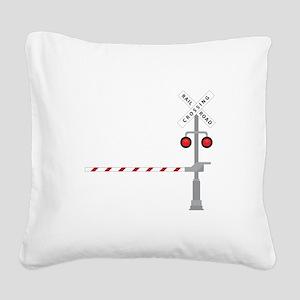 Railroad Crossing Square Canvas Pillow