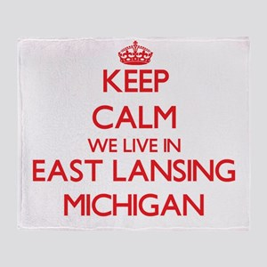 Keep calm we live in East Lansing Mi Throw Blanket