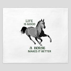 A HORSE MAKES LIFE GOOD King Duvet